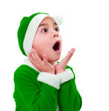 Little boy in green Santa Claus costume Royalty Free Stock Photography