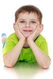 The little boy in the green shirt Royalty Free Stock Photography