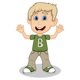 Little boy with green shirt and gray trousers waving his hand cartoon Royalty Free Stock Image