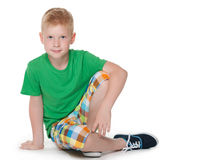 Little boy in the green shirt Royalty Free Stock Image