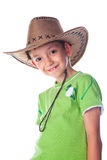 Little boy in green t-shirt wearing cowboy hat Royalty Free Stock Photo