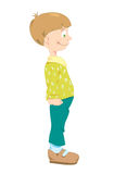 Little_boy_in_green_trousers. Little boy in green trousers and t-shirt with rombs Royalty Free Illustration