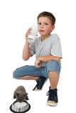Little boy and grey kitten both drinking milk Stock Photography