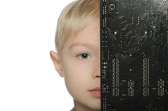 Little boy half closed motherboard Royalty Free Stock Photos