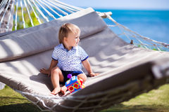 The little boy in the hammock Stock Photography