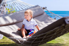 The little boy in the hammock Royalty Free Stock Images