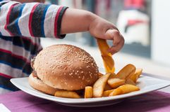 little boy hand eating hamburger and french fries at stock photo