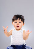 Little boy hand raised up Stock Images