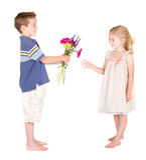 Little boy handing flowers to little girl royalty free stock photo