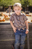 Little Boy With Hands in His Pockets at Pumpkin Patch Royalty Free Stock Image