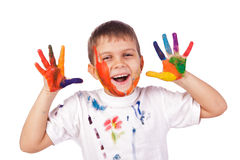 Little boy with hands painted in colorful paints Stock Photography