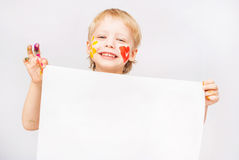 Little boy hands painted in colorful paints. On white stock images