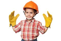Child construction worker royalty free stock photos