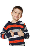 Little boy is happy and showing thumbs up Stock Images