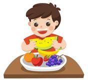 A Little Boy happy to eat Friuts. He love Friuts. Isolated vector Stock Images