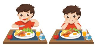 Little boy happy and Unhappy to eat breakfast. Little boy happy to eat breakfast and Unhappy to eat breakfast. Concept of Health and growing children stock illustration