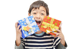 Little Boy Happy With Gift Box Stock Photo