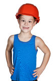 Little boy with hard hat and in too big jeans Stock Photography