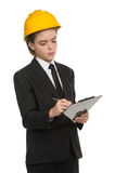 Little boy in hardhat. royalty free stock image