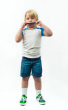 Boy with harmonica Royalty Free Stock Images