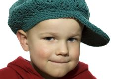 Little Boy with Hat 1. Cute picture of a little 3 year old wearing a green hat stock images
