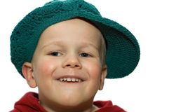 Little Boy with Hat 2. Cute picture of a little 3 year old wearing a green hat stock photography