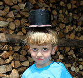The little boy in a hat. The little boy in a cylinder hat Stock Image