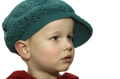 Little Boy with Hat 4. Cute picture of a little 3 year old wearing a green hat stock photos