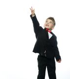 Little boy in hat and black suit Royalty Free Stock Images