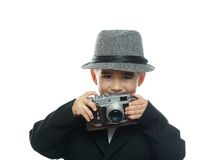 Little boy in hat and black suit Royalty Free Stock Photo