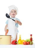 The little boy in a hat of the cook Royalty Free Stock Photo
