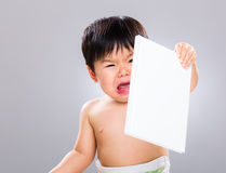 Little boy hate book Royalty Free Stock Images