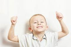 Little boy have fun with funny gestures Stock Image