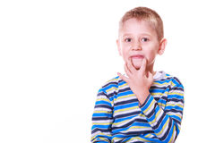Little boy have fun with funny gestures make faces. Stock Image
