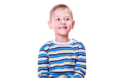Little boy have fun with funny gestures make faces. Royalty Free Stock Photography