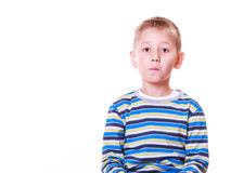 Little boy have fun with funny gestures make faces. Stock Images