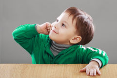 Little boy have an idea Stock Photo