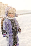 Little Boy Have Winter Fun Stock Photos