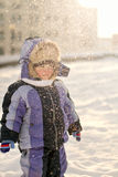 Little Boy Have Winter Fun Stock Photo