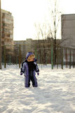 Little Boy Have Winter Fun Stock Image