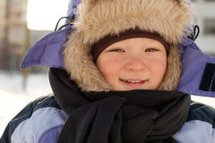 Little Boy Have Winter Fun Stock Photos