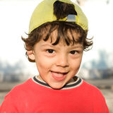 The little funny boy closeup portrait in good mood Royalty Free Stock Photos
