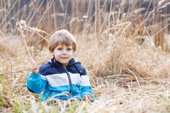 Little boy having fun with bulrush near forest Royalty Free Stock Image