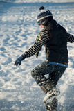 Little Boy Having Fun, Running In The Snow Stock Image