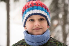 Little boy having fun on winter day Stock Images