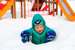 Little boy having fun in winter playground Stock Photography