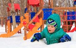 Little boy having fun in winter playground Stock Photography