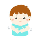 Little boy having stomach ache cartoon . Boy having stomach ache,cartoon style  illustration isolated on white background Stock Photo