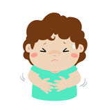 Little boy having stomach ache cartoon . Boy having stomach ache,cartoon style  illustration isolated on white background Royalty Free Stock Photos