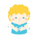 Little boy having stomach ache cartoon . Boy having stomach ache,cartoon style  illustration isolated on white background Stock Photos
